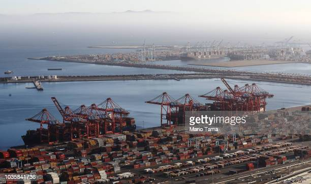 Shipping containers sit at the Port of Long Beach the nation's secondbusiest container port on September 18 2018 in Long Beach California China will...