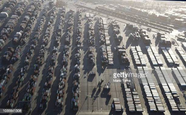 Shipping containers sit at the Port of Los Angeles the nation's busiest seaport on September 18 2018 in San Pedro California China will impose an...