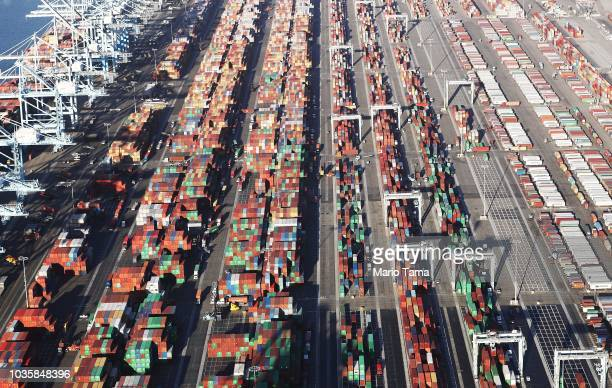 Shipping containers sit at the Port of Los Angeles the nation's busiest container port on September 18 2018 in San Pedro California China will impose...