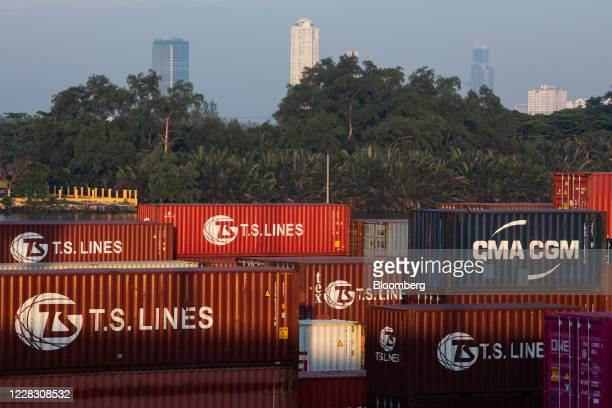 Shipping containers sit stacked at the Bangkok Port in Bangkok Thailand on Wednesday Sept 2 2020 Thailand has reported zero locallytransmitted...