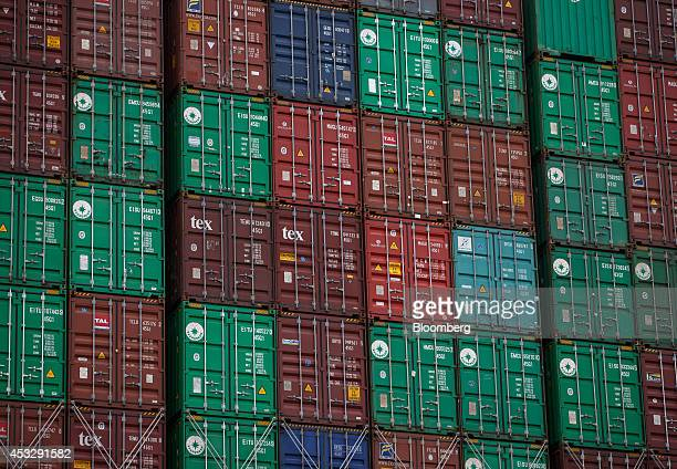 Shipping containers sit stacked on board the cargo ship NYK Vega operated by Nippon Yusen KK at Europe Container Terminals BV Delta Terminal in the...