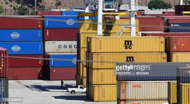 Shipping containers stacked high at the Port of Los Angeles, California on April 19 where records continue to be set for incoming cargo at the...