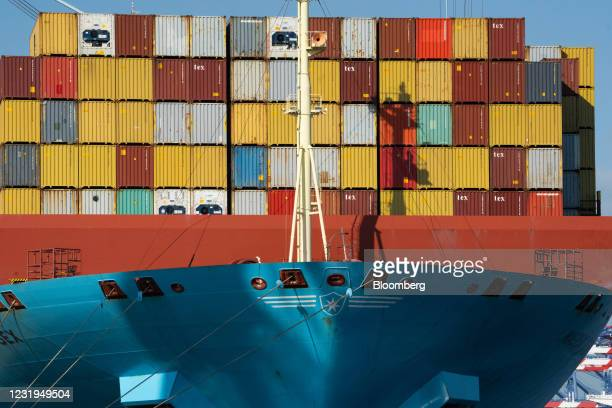 Shipping containers stacked on the Maersk Essex cargo ship at the Port of Los Angeles in Los Angeles, California, U.S. On Friday, March 26, 2021....