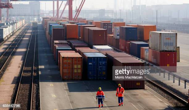 Shipping containers stand in rows in one of the many port facilities on February 15, 2017 in Hamburg, Germany. According to recent statistics German...