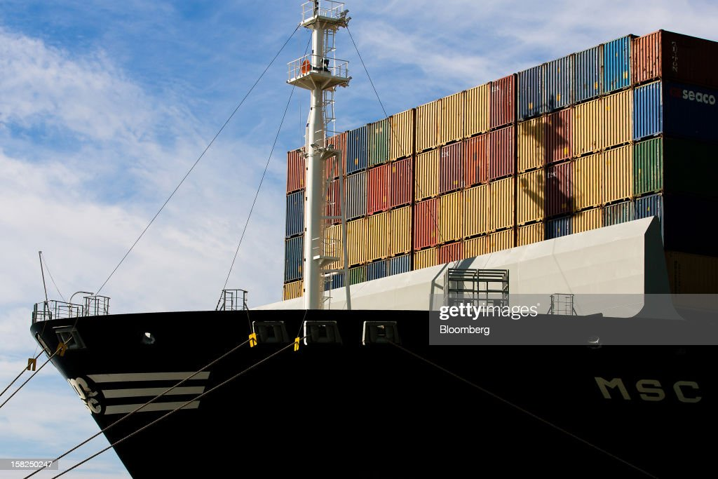 Shipping containers stand stacked aboard MSC Renee before unloading at the open deep-water Port of Sines in Sines, Portugal, on Tuesday, Dec. 11, 2012. The Portuguese government is ready to implement additional measures in 2013 if there are slippages in meeting budget targets, the European Commission said. Photographer: Mario Proenca/Bloomberg via Getty Images