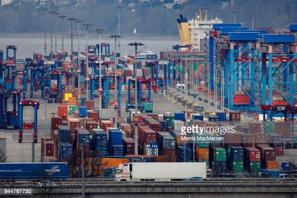 Shipping containers stand stacked at Hamburg Port on April 11 2018 in Hamburg Germany Hamburg Port is Germany's biggest port and handles...