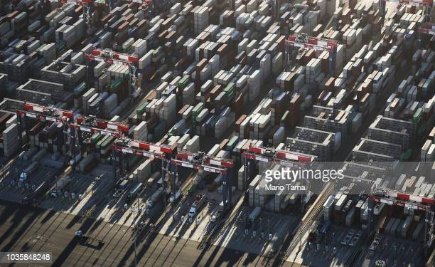 Shipping containers stand stacked at the Port of Long Beach the nation's secondbusiest container port on September 18 2018 in Long Beach California...