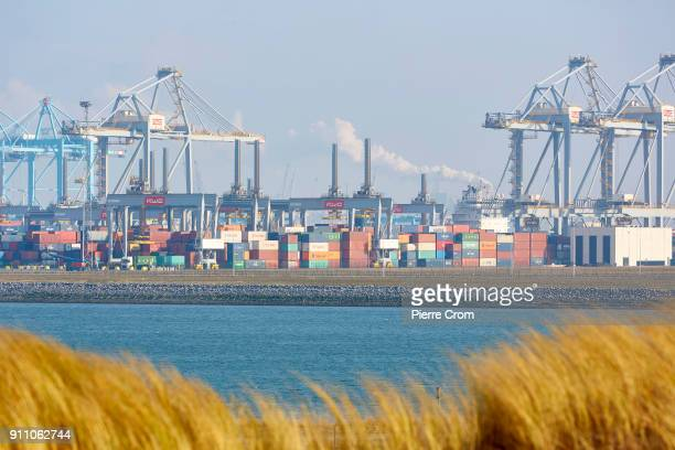A shipping containers terminal is seen in the Port of Rotterdam the largest port in Europe in Rotterdam on January 27 2018 Entrepreneurs working in...