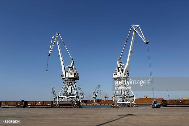 Shipping cranes stand on the dockside at Thessaloniki port operated by Thessaloniki Port Authority SA in Thessaloniki Greece on Thursday July 16 2015...