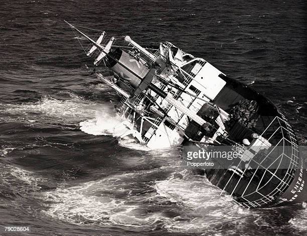 Shipping Disasters 10th January 1952 The stricken American freighter 'Flying Enterprise' listing badly in the Atlantic Ocean