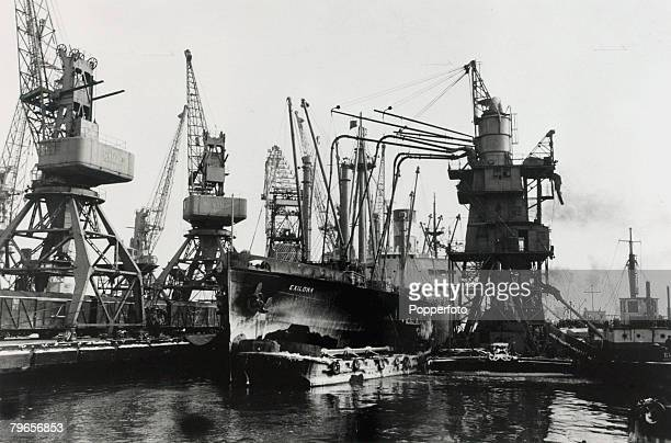 25th February 1964 The American grain ship 'Exilona' pictured during the unloading of grain in Odessa Russia
