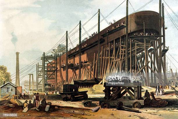 Shipping Illustration from the Illustrated London News from 1857 pic 1857 The 'Great Eastern' on the stocks being at built at Millwall on the Isle of...