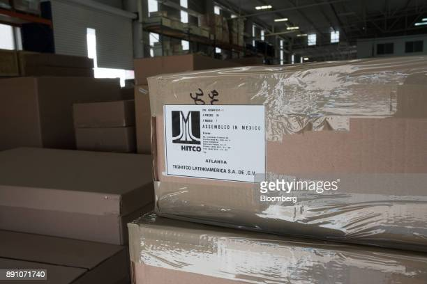 A shipping label on a box reads 'Assembled in Mexico' at the Tighitco Inc manufacturing facility in San Luis Potosi Mexico on Thursday Nov 16 2017...