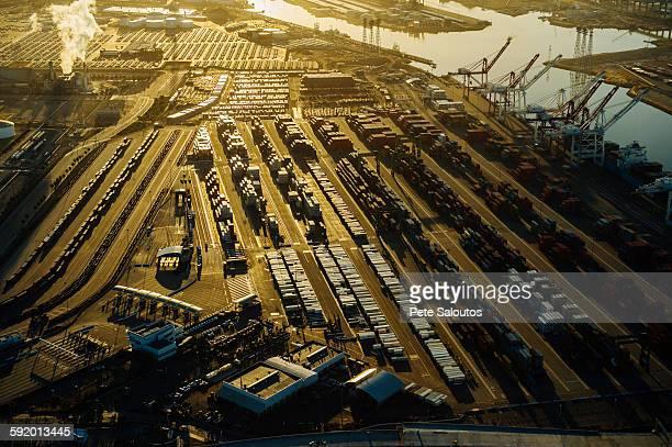 Shipping port, sunset, Los Angeles, California, USA