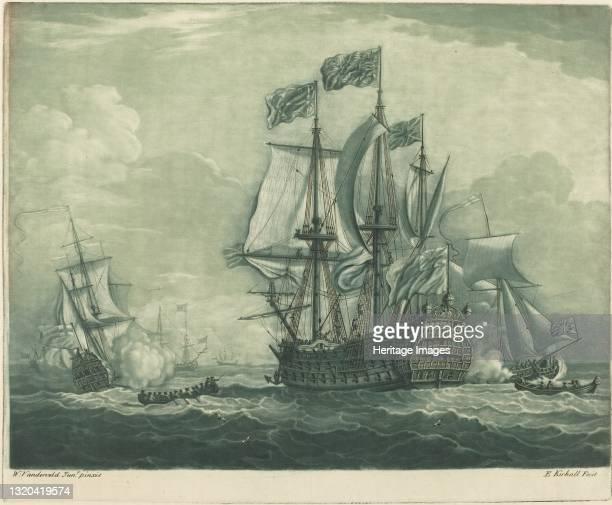 Shipping Scene with Man-of-War, 1720s. Artist Elisha Kirkall.
