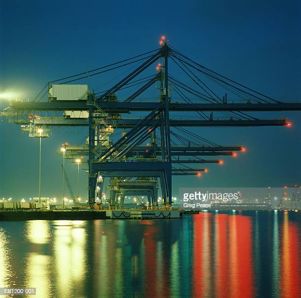 Shipping terminal container operations at night
