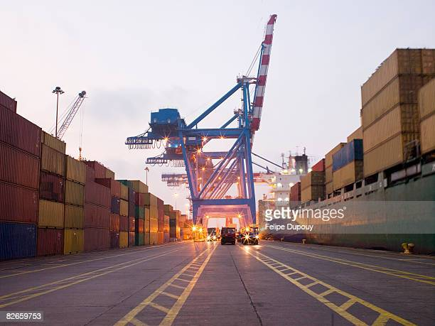 shipping yard traffic lanes - commercial dock stock pictures, royalty-free photos & images