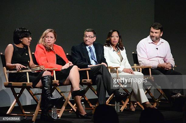 Shipra Gupta Abigail E Disney Reverend Rob Schenck Lucy McBath and John M Phillips attend The Apple Store Soho Presents Tribeca Film Festival 'The...
