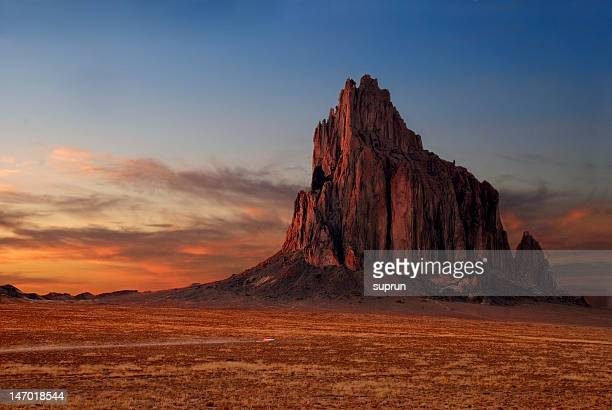 shiprock at sunset - new mexico stock pictures, royalty-free photos & images
