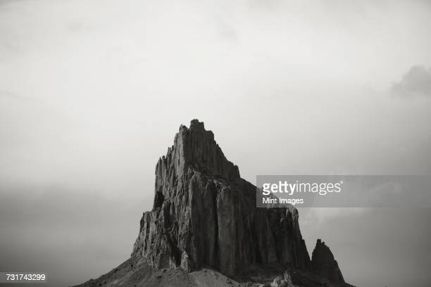 shiprock is a sacred navajo landmark on the navajo indian reservation in nw new mexico - shiprock stock photos and pictures