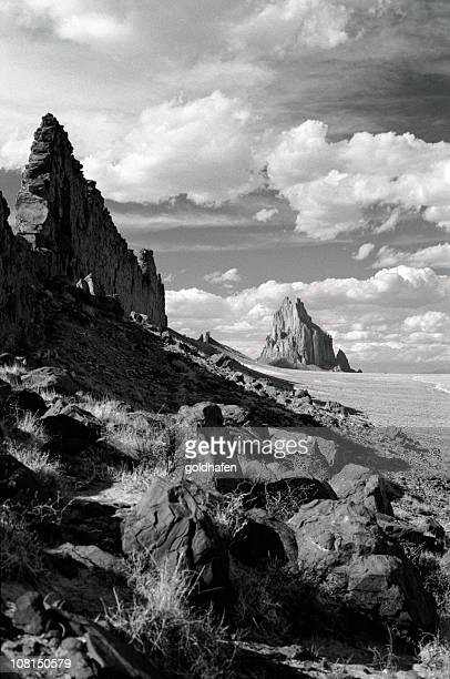shiprock, new mexico, black and white - shiprock stock photos and pictures
