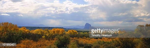 shiprock with fall foliage in foreground - timothy hearsum bildbanksfoton och bilder