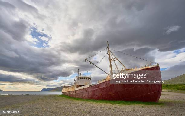 shiprwreck, westfjords - westfjords iceland stock photos and pictures