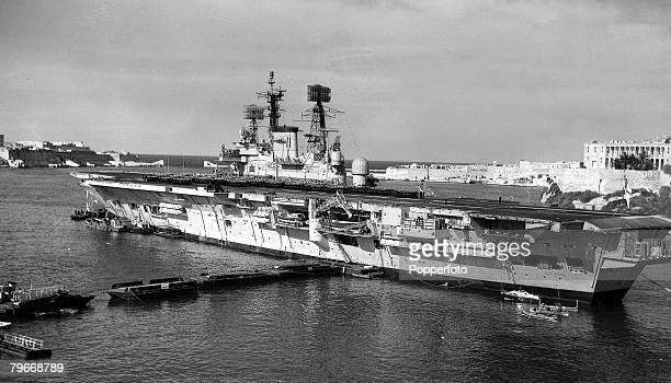 Ships 6th March 1973 Valetta Malta Some 2800 Officers and ratings line the flight deck of the aircraft carrier HMS Ark Royal awiting inspection at...