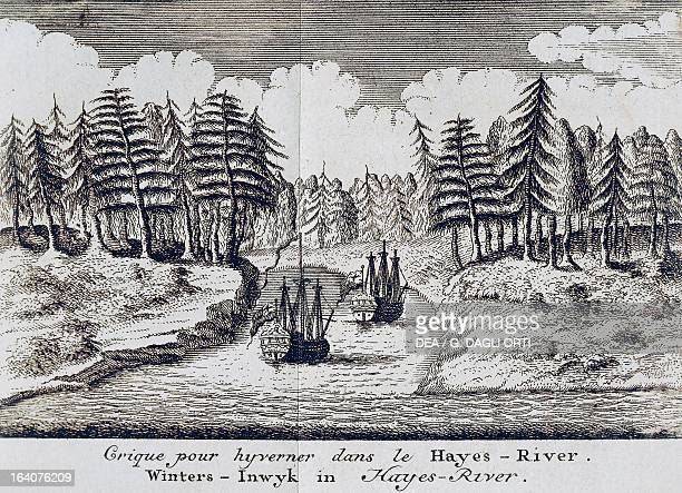 Ships along the Hayes River during the winter engraving from A voyage to Hudson'sBay by the Dobbs Galley and California in the years 1746 and 1747...