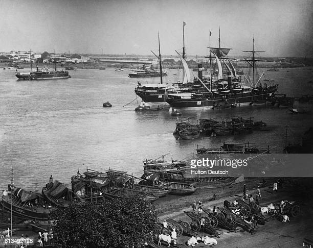 Ships anchored at Calcutta on the Hooghly River