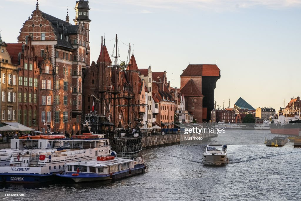 Ships and boats on the Motlawa river are seen in Gdansk, Poland on