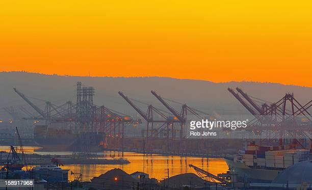 Ships and cranes at a dock, Long Beach Harbor