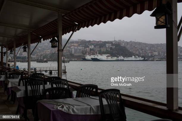 Ships are seen in port from the balcony of a coal mining members recreation club on April 5, 2017 in Zonguldak, Turkey. More than 300 kilometers of...