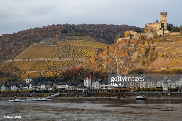 Ships are seen near the the banks of Rhine River on November 09 2018 near Kaub in Germany Summer heat wave in Germany as well unfavorable wind...