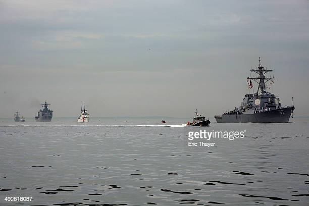 Ships arrive on May 21 2014 in New York City Fleet Week festivities officially began with a parade of ships into New York Harbor and up the Hudson...