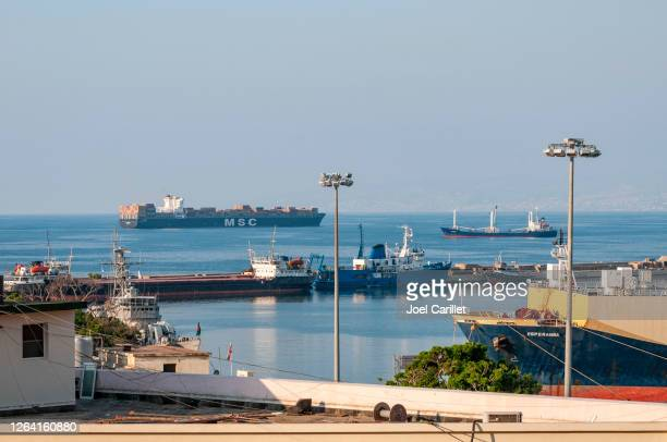 ships at the port of beirut, lebanon - port of beirut stock pictures, royalty-free photos & images
