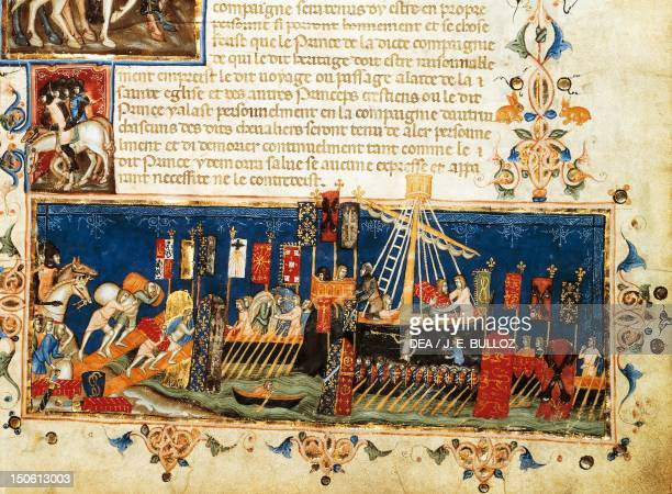 Ships being loaded in preparation for the Fourth Crusade miniature from a 14th century French manuscript Crusades 13th century