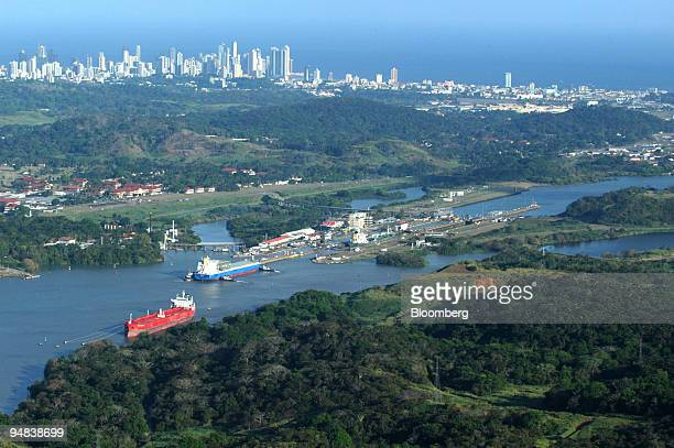 Ships cross Miraflores Locks in the Pacific end of the Panama Canal Monday January 31 2005 The three sets of locks of the twolane canal work as water...