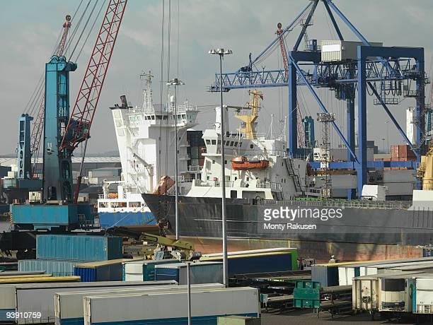 ships docked in a port - monty rakusen stock-fotos und bilder