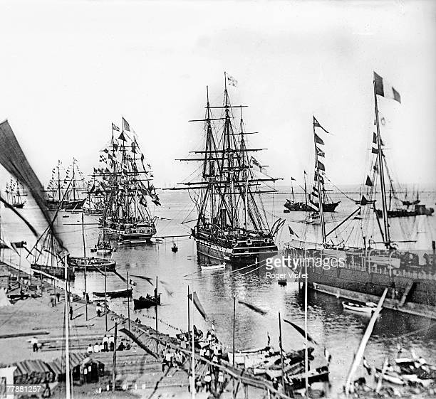 Ships entering the Suez Canal at its inauguration, Egypt, 1869.