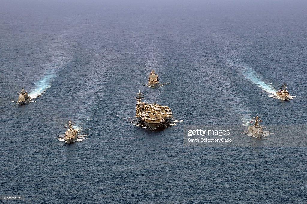 U.S. Navy Ships Are In The Atlantic Ocean : News Photo