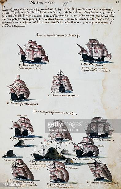 Ships from the maritime expeditions to discover Malacca engraving from Livro das Armadas Portugal 16th century Lisbon Academia Das Ciencias