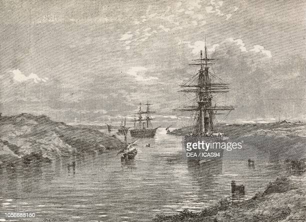 Ships Gottardo and Amerigo Vespucci cross the Suez Canal Egypt first Italian expedition in the Red Sea engraving from a drawing by Edoardo Matania...