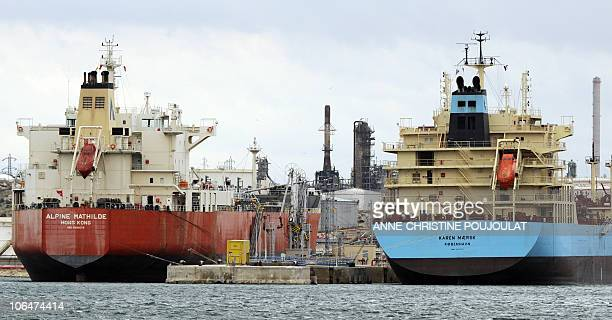 Ships have docked on October 30 2010 at Lavera oil harbour in Martigues southern France following the end of its blockade by strikers Workers at oil...