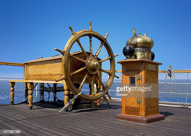ships helm wheel - galleon stock photos and pictures