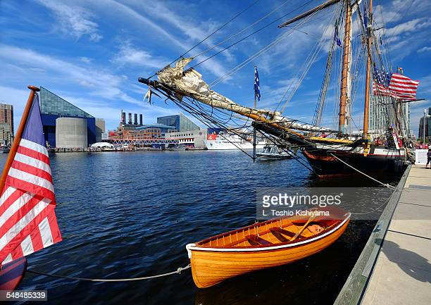 ships in baltimore's inner harbor - baltimore stock photos and pictures