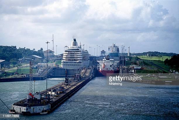 ships in Gatun Locks, Panama Canal