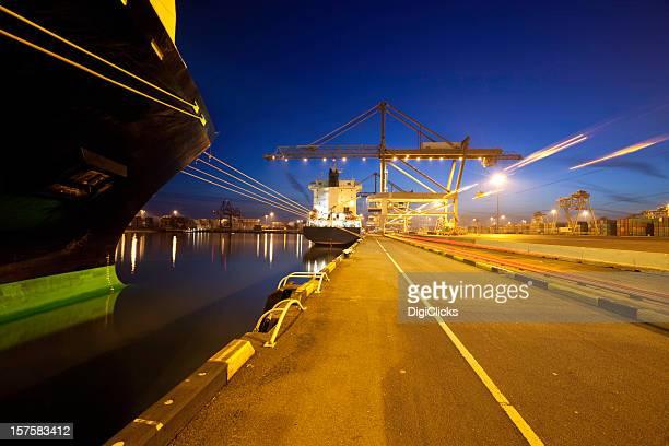 Ships in port at dusk