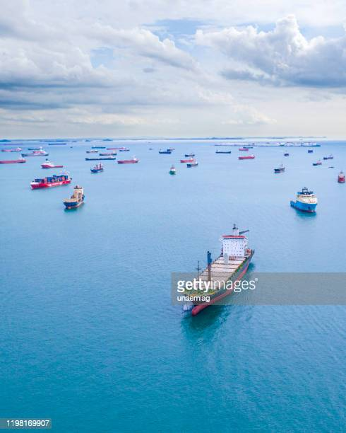 ships in port seen from above - bay of water stock pictures, royalty-free photos & images