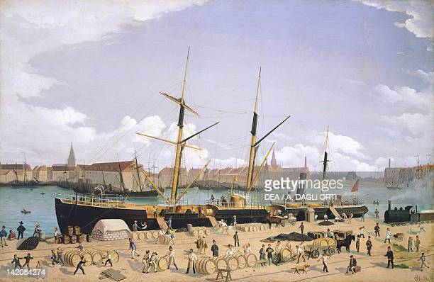 Ships loading in the port of Copenaghen Denmark 19th Century
